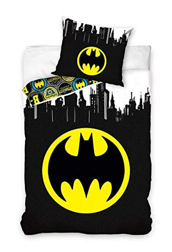 Carbotex - BAT191050-PP – Juego de cama Batman Símbolo de murciélago Logo redondo Funda nórdica y funda de almohada original algodón – Multicolor – 140 x 200 centímetros y funda de almohada 70 x 90 cm