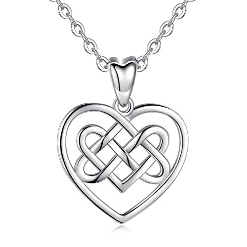 EUDORA Sterling Silver Celtic Heart Knot Necklace, Good Luck Endless Love Pendant, 18 inch, Special用 EUDORA Sterling Silver Celtic Heart Knot Necklace, Good Luck Endless Love Pendant Keepsake, 18 inch