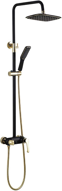 RENKK 3-Funktions-Duschset aus Kupfer mit Regendusche und Handbrause für das Badezimmer,A