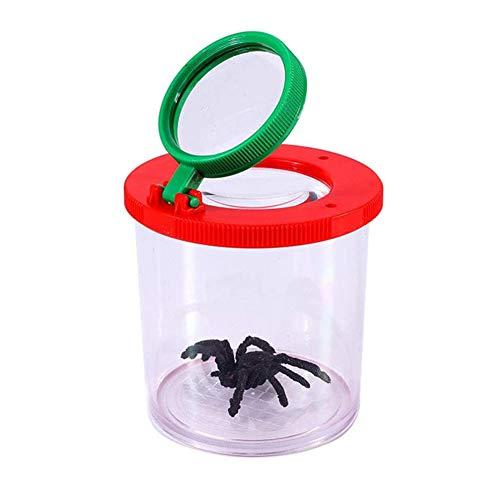 J.W. Insekt Vergrößerungsanzeige Bug Vergrößerungs Len Cartoon Lupe Box mit Deckel Luftlöcher und gruselige Spinne für Kinder Outdoor-Aktivitäten Natur Exploration Spielzeug 3PCS