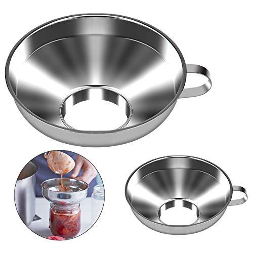 Fancywhoop Marmeladentrichter 2Pcs Einmachtrichter Edelstahl Trichter für die Küche mit Henkel Große Öffnung Jam Funnel von Flüssigkeit Öl Marmelade Pilvern Bohnen