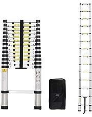 Todeco - Telescoopladder, vouwladder - Maximale belastbaarheid: 150 kg - Aantal treden: 14 - 4,1 meter, EN 131-6, gratis draagtas, extra stap.