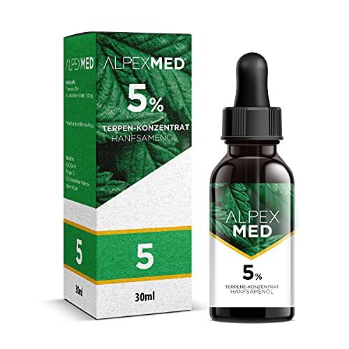 ALPEX-MED 5 Prozent Terpene mit Hanfsamenöl 30ml und Analysezertifikat. Die Tropfen enthalten Omega Fettsäuren und Vitamin E in Premium Qualität