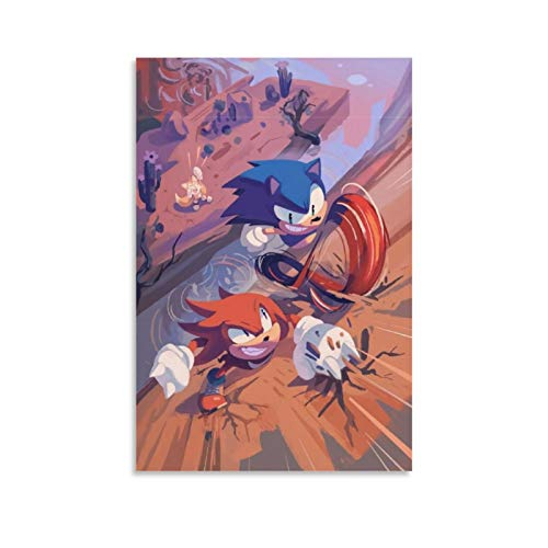 NUOMANAN Sonic The HedgehogSonic And Tars Game Cartoon Cork Board Canvas Art Wall Art 20 x 30 cm Canvas Print Art for living room home Decor Unframed/Frameable