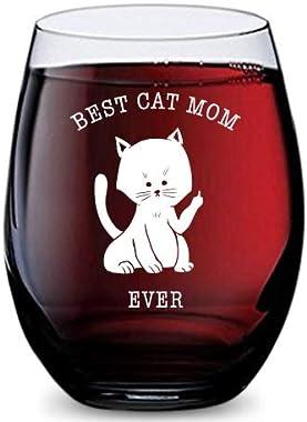 Copa de vino sin tallo (Best Cat Mom Ever) hecha de plástico Tritan irrompible y apto para lavaplatos, 16 onzas