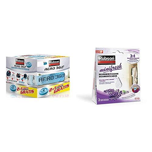 Rubson AERO 360º Tabletas de Recambios para Deshumidificador Recargable, Olor Neutro + Minifresh, deshumidificador y ambientador de lavanda, bolsas deshumidificadoras en formato percha