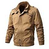 ZooYung Men's Cotton Lightweight Jackets Casual Military Coat(GM-ZY813-Khaki-S)