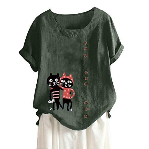 MOTOCO Damen Übergröße Kurzarm T-Shirt Top Lässig O Ausschnitt Mit Knopf Mode Tier Druck Lose Tees(M,Grün-3)