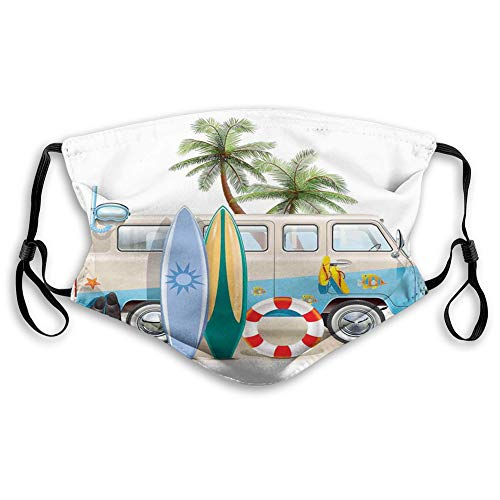 Comfortable Windproof Face Cover,Surf,Surfing Weekend Concept with Diving Elements Fins Snorkeling and Van Trip Relax Peace,Multicolor,Printed Facial Decorations for Unisex M
