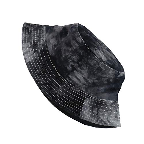 Kjsdzh Sombrero de pescador con patrón de pintura de teñido anudado de tinta de pescador, sombrero de pescador para hombres y mujeres, tendencia callejera de doble cara, degradado de color
