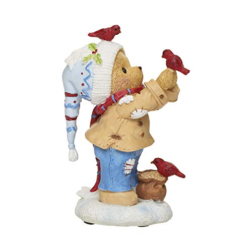 Roman Cherished Teddies, Buddy with Birds Christmas Figure, 4.25' H, Resin and Wollastonite, Durable, Collectible Decoration, Decorative, Home Decor