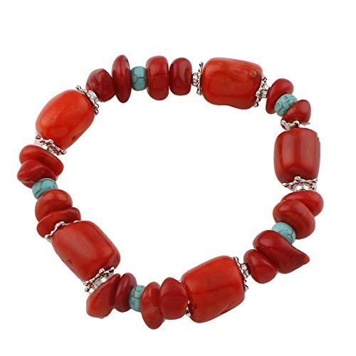 Treasure Bay - Bracciale Elastico in Corallo Rosso e Turchese