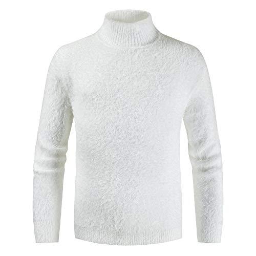 XLDD - Maglione da uomo a collo alto, basico, aderente, morbido, in maglia classica, tinta unita, per autunno e inverno, elegante, caldo F-white XL