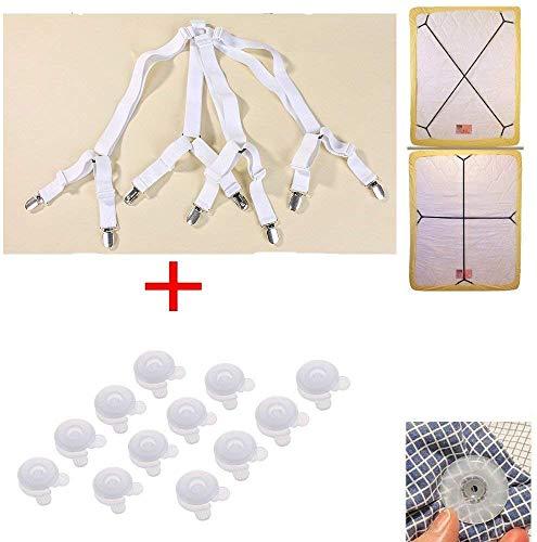 JZK Weiß Bettlakenspanner verstellbare Greifer für Spannbetttuch + 12 Bettdecken Clips für Runde und Quadratische Matratzen