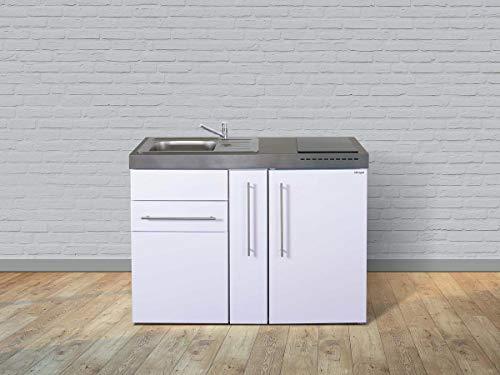 Stengel Miniküche Premiumline MP 120 A mit Kühlschrank und Ausziehschrank, Pantryküche, Singleküche mit Apothekerschrank - Farbe: weiß/Breite: 120cm