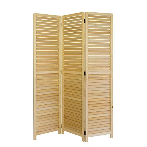 Homestyle4u 1359, Paravent Raumteiler 3 teilig, Holz Lamellen, Natur