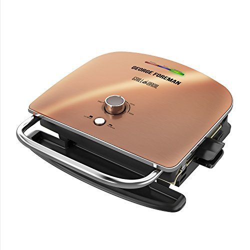 George Foreman GRBV5130CUX Grill & Broil 6-in-1 Electric Indoor Grill, Broiler, Panini Press, and Top Melter, Copper, One Size
