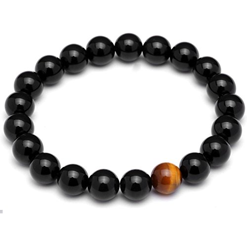 Lion&Son Perlen-Armband Tigereye-Bracelet Gem-Stone M�nner-Armreif Men-Fashion Onyx Obsidian Black Bijoux Jewelry, Farbe:Black - 10mm