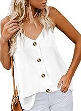 BLENCOT Women Cute Sleeveless Shirts Blouses Button Up V Neck Spaghetti Strap Fashion Cami Tank Top White XL