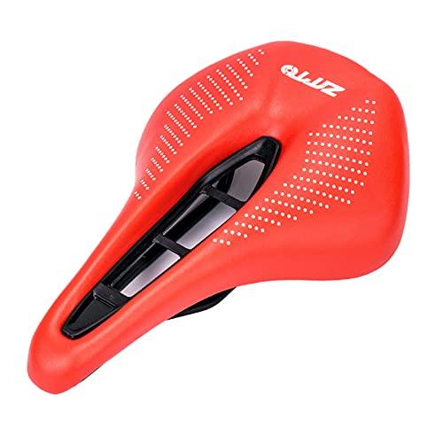 FITYLE Asiento de Bicicleta Asiento de Bicicleta para Hombres y Mujeres Asiento de Bicicleta Impermeable de Cuero de Microfibra Centro Hueco Asiento de - Rojo Blanco