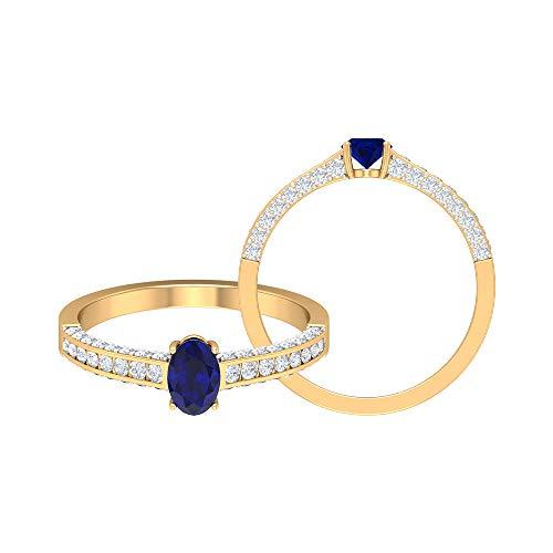 Anillo solitario de zafiro azul de 3/4 CT creado en laboratorio, anillo de diamante HI-SI de 1/2 quilates, 14K Oro amarillo, Size:EU 65