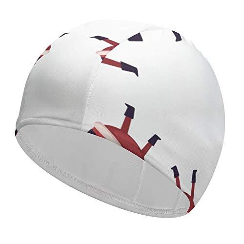 Santa Claus Long Hair Swim Cap 92% Polyester+8% Spandex Waterproof Bathing Cap Keep Your Hair Dry Short Hair Swimming Hat for Women Kids