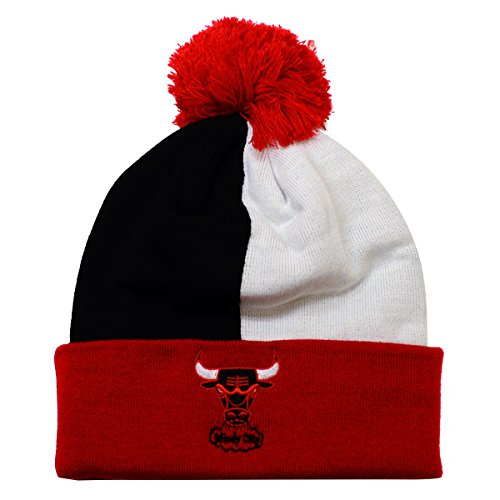 Mitchell & Ness NBA Over and Back Cuffed Pom Beanie Knit (One Size, Chicago Bulls Throwback)