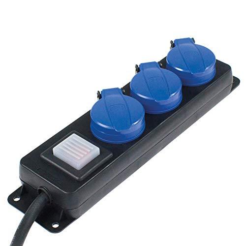 as - Schwabe 3-fach Verteilersteckdosenleiste mit Schalter – Schuko-Steckdosen 45° – Mehrfachstecker mit 1,5 m Leitung – 230 V / 16 A Mehrfachsteckdose für den Außenbereich – IP44 –  Schwarz I 38603