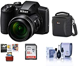 Nikon COOLPIX B600 16MP Compact Digital Point & Shoot Camera, 60x Optical Zoom, Black - Bundle with 32GB SDHC Card, Camera Case, Cleaning Kit, Mac Software Package