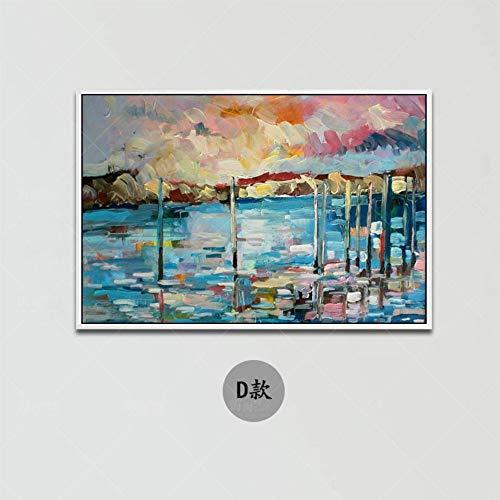 Olieverfschilderij handgeschilderd op canvas, overzicht landschap schilderen, blauw, grijs, open haard, Europese stijl, moderne decoratie om op te hangen aan de muur, entree, woonkamer, slaapkamer, kinderen 60 x 90 cm