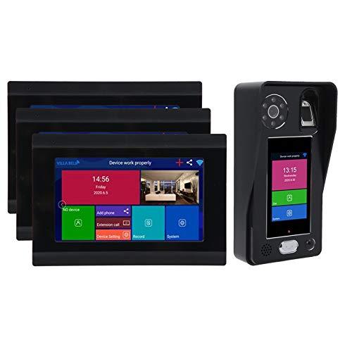 Timbres para Puertas, Timbre inalámbrico WiFi con pantalla táctil de 3,5 pulgadas, sistema de intercomunicación con timbre de videoportero con pantalla LCD de 3 x 7 pulgadas(EU)