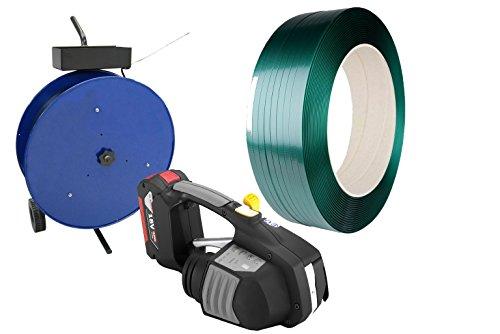 Hochwertiges Akku-Umreifungsgerät Set inklusive 15,5x0,9 mm PET-Band grün- elektrisches Umreifungsgerät - Bündelset