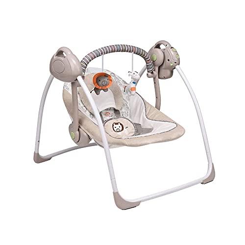 Silla EléCtrica MultifuncióN De Seguridad Para Bebé, Columpio Ajustable Para Bebé Con 16 Canciones Y 2 Juguetes Colgantes, Adecuado Para ReciéN Nacido Y NiñO PequeñO