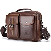 UBAYMAX Men's Leather Messenger Satchel Bag, Small Shoulder Crossbody Side Bag for Men, Vintage Handmade Genuine Leather Male Commuter Work Bag Business Briefcase