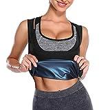 MISS MOLY Sports Workout Sauna Tank Top Shaper for Weight Loss Fitness Waist Trainer Sweatwear Black+ Blue S&M