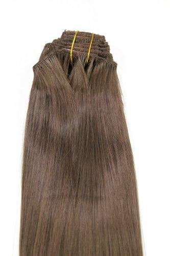 WIG ME UP ® - EX03-GGO-10 Clip-in Komplett-Set 8 tlg. Extensions Haarverlängerungen Vollkopf Farbe Braun (10) Länge 40cm