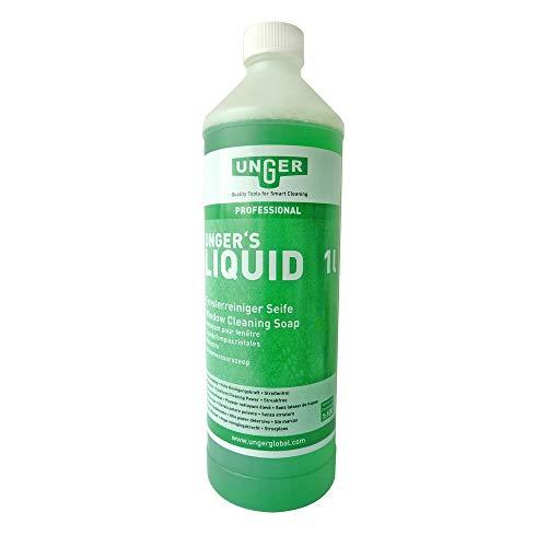 Unger Glasreiniger Unger's Liquid (1 Liter, Konzentrat, Mischverhältnis 1:100, pH-neutral, streifenfreie Fenster, Sicherheitsverschluss, Dosierungs-Skala) FR100