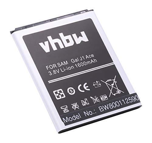 vhbw Li-Ion batería 1600mAh (3.8V) para teléfono móvil Smartphone Samsung Galaxy J1 Ace, J1 Ace 3G Duos, J1 Ace Dual SIM 3G por EB-BJ111ABE.