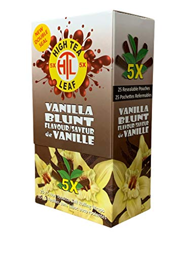 High Tea Leaf Hemp Wraps – Vanilla – 25 Pack Box (5 in each pack) 125 Wraps Total