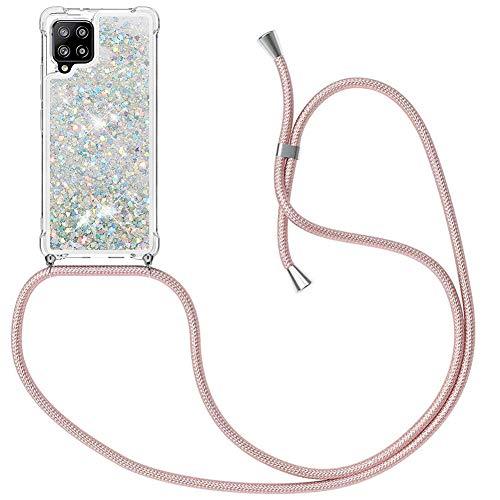 MXKOCO Handykette kompatibel mit Samsung Galaxy A42 5G Glitzer Flüssig Bewegende Treibsand Hülle mit Band Umhängetaschen+Hüllen mit Umhängeband Handykordel mit Schutzhülle Stylische Kette mit Hülle