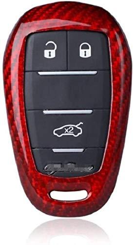 WASHULI Shell de la Cubierta de Coches Car Styling, Compatible Alfa Romeo Mito 159 Casos Clave de Fibra de Carbono Funda Coche 147 Giulia Stelvio Cubierta Llave del Coche 3 Botón Rojo Accesorios
