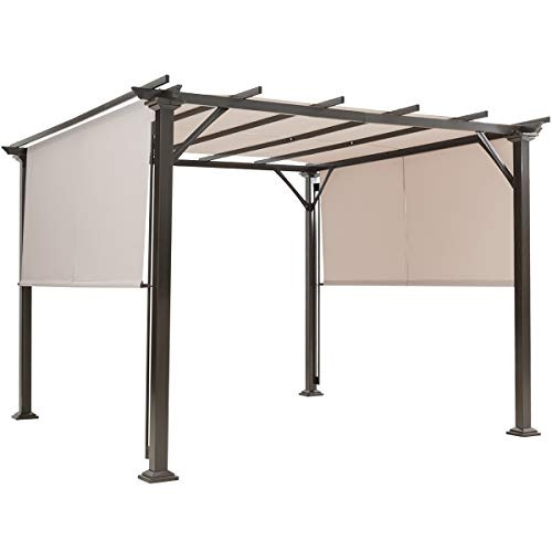 Tangkula 10 X 10FT Outdoor Pergola Gazebo, Outdoor Patio Furniture Sturdy Steel Frame Sun Shelter w/Retractable Canopy Shades, Rustproof Metal Pergola for Patio, Backyard, Garden (Beige)