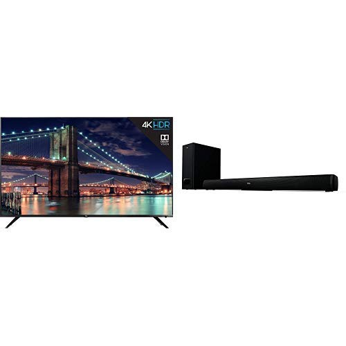 TCL 55R617 55-Inch 4K Ultra HD Roku Smart LED TV (2018 Model) with TCL Alto 5+ 2.1 Channel Home Theater Sound Bar with Wireless Subwoofer - TS5010