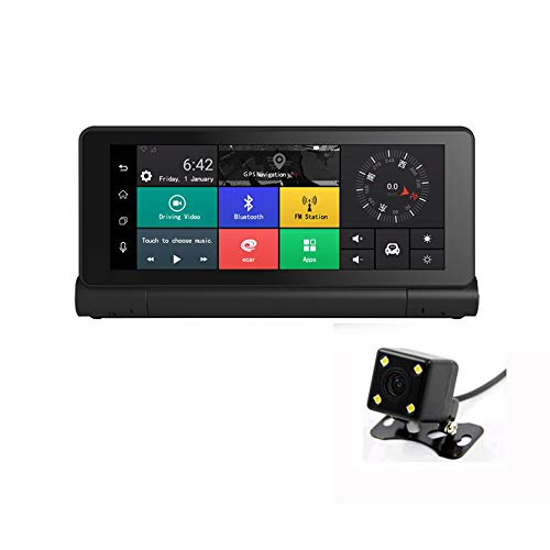 Kunfine® K300 17,8 cm Grand écran Tactile Multifonctionnel Android GPS Navi Dash Cam Caméra de Voiture Double Appareil Photo d'enregistrement WiFi Bluetooth avec 4 G/FM transmettre