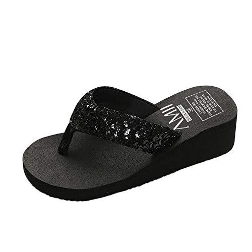 ciabatte donna espadrillas pantofole donna ciabatte con fiori ciabatte estive pantofole gomma con pelo scarpe donna estive sandali (B25-Black,35)