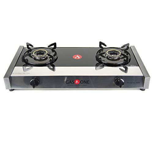 Gas One 5058 Premium Gas Stove Range with Propane Regulator-2 Burner Tempered Glass Cooktop Auto...