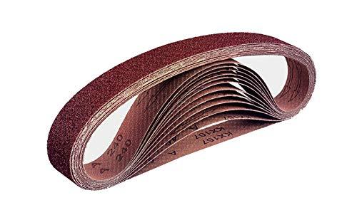 Gewebe-Schleifbänder │ 96 Stück │ 10 x 330 mm │ je 16 x Korn 40/60/80/120/180/240 │ kompatibel mit Bandfeilen │ Schleifpapier │ Schleifband-Mixpack