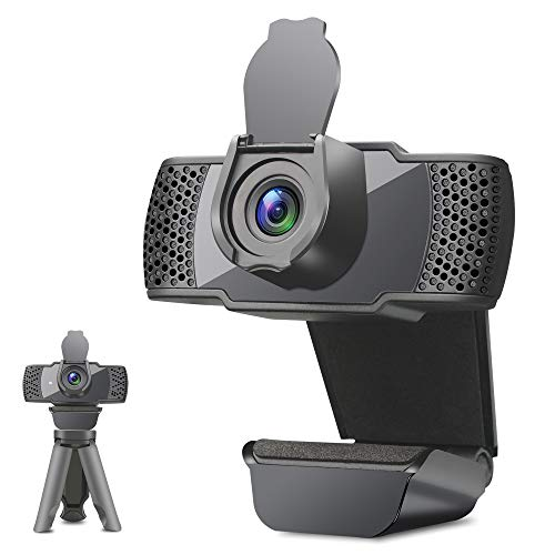 Webcam with Microphone, 1080P Webcam for Laptop, Streaming Webcam with Tripod and Cover, Plug and Play Computer Camera Compatible with Zoom/Skype/Facetime/Teams