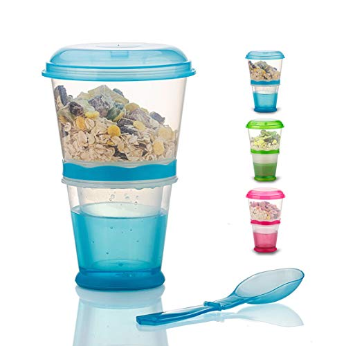 Cereal On the Go Cups Travel-To-Go-Food-Containers Storage with Spoon Breakfast Drink-Cups-Portable (Blue)