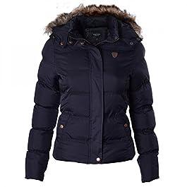 BRAVE SOUL Ladies Womens Designer Fur Hooded Short Jacket Quilted Puffer Padded Coat UK 8 /US 6/ AUS 10/ EU 36/ X Small Black